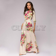CUERLY Spring Summer de festa Hot sale O-neck half lantern sleeve long dress for female Elegant Bohemian women