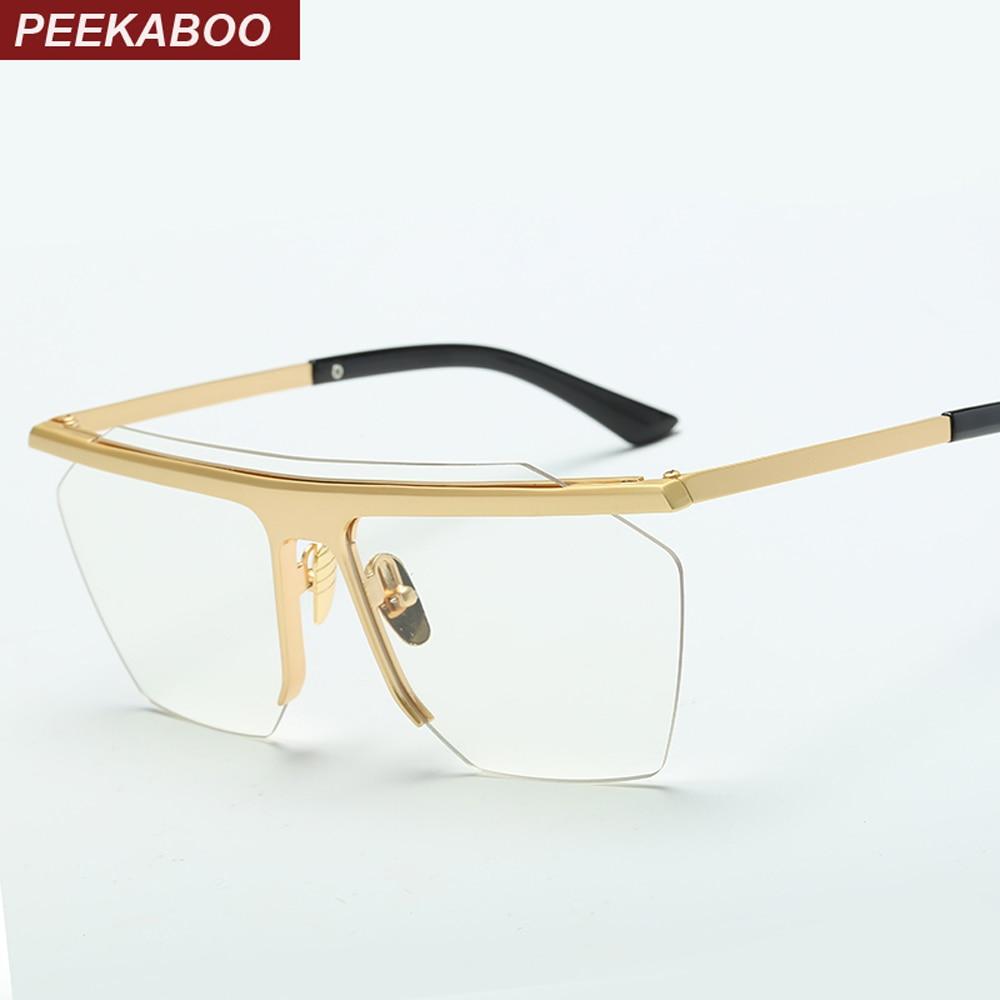bd5054f05a US $8.46 20% di SCONTO|Peekaboo 2017 oro senza montatura occhiali da vista  frames per gli uomini di metallo grande lente di un pezzo occhiali maschio  ...