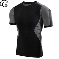PRAYGER Men Compression Body Shaper Undershirts Short Sleeves Tank Tops Breathable Warm Thermal O Neck Elastic Underwear