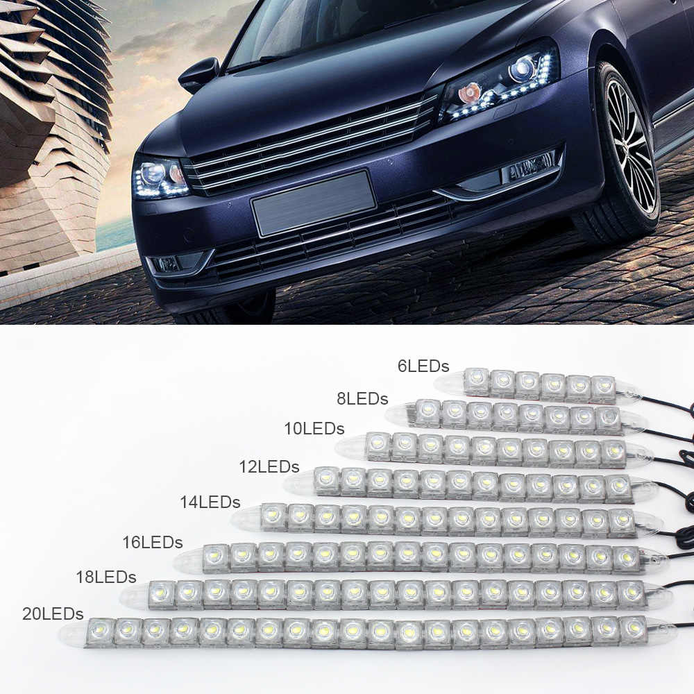 ANBLUB Car COB LED Fog Light Daytime Running Lights 12V 6 8 10 12 14 16 18 20 LEDs Auto Universal Flexible DRL Strip Lights