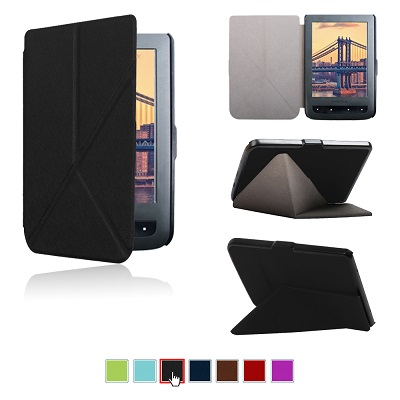 For pocketbook touch lux 614/615/624/625/626/626 plus origami stand protective cover case+film+stylus