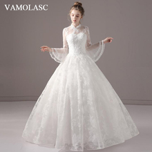 VAMOLASC Illusion High Neck Lace Appliques Ball Gown Wedding Dresses Flare Long Sleeve Backless Bridal Gowns