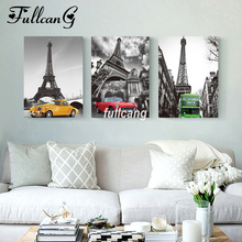 FULLCANG Full Square Diamond Embroidery Tower Car Diy 5D Painting Cross Stitch Triptych Mosaic Arts Decorative F862