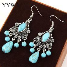 YYW Bohemian Women Earrings Teardrop Black Vein Turquoises Aretes Antique Silver Color Chandelier Filigree Stone Dangle Earrings faux crystal filigree chandelier earrings