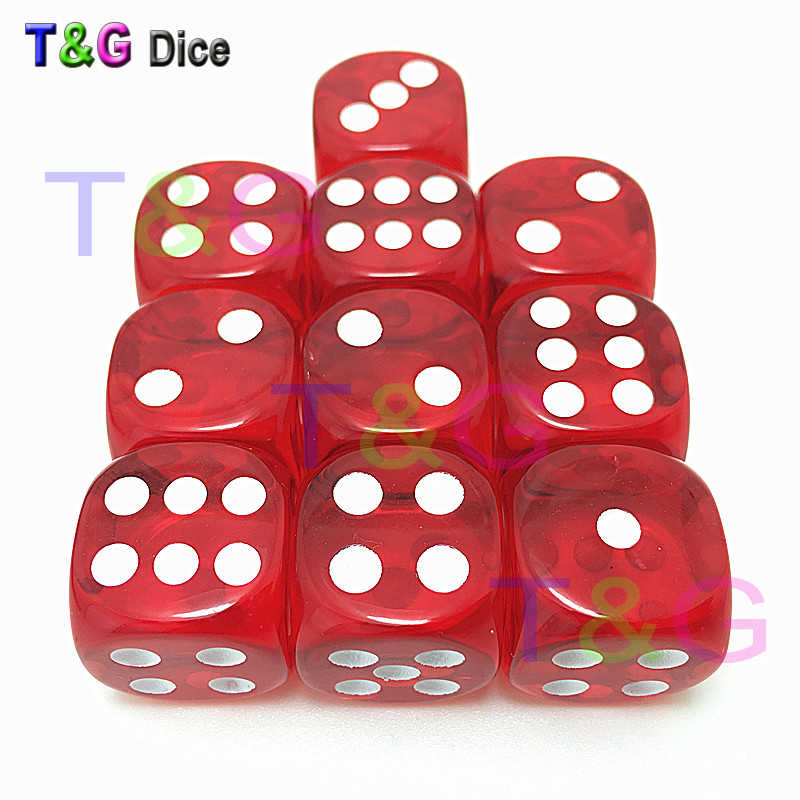 10pcs set T G dice High Quality Transparent 16mm 6 sided Multi Colored Dice  D6 dungeon f180eab21fe5