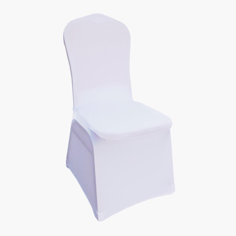 50 sztuk biały uniwersalny rozciągliwy poliester Wedding Party elastan pokrowce na krzesła w Pokrowiec na krzesło od Dom i ogród na  Grupa 1