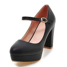 DoraTasia Big Size 32-43 Fashion Women Mary Jane Shoes Vintage Square High Heels Party Wedding Dress Platform Pumps