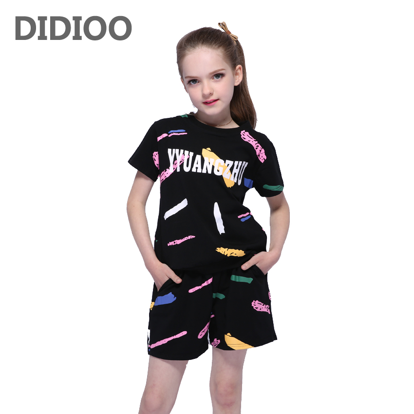 Girls Outfits Cotton Graffiti Clothing Sets For Girls Sports Suits Summer Kids Clothes Suits T-Shirts & Shorts 2 4 6 8 9 10 12Y