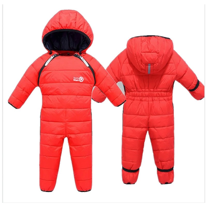Kids Rompers Newborn Baby Girl Duck Down Winter Snowsuit Baby Cute Hooded Jumpsuit Baby Boy Clothes Ski Suit Red Blue Jacket 2017 children winter clothing set kids ski suit baby boy girl down jacket coat jumpsuit 2pcs suit