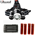 Head Lamp Flashlight Torch Lanterna Headlamp 3T6 headlight 3x XM-L T6  LED Headlight 9000 Lumen with 4 batteries and charger 005