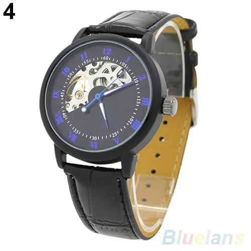 Men's Mechanical Hollow Dial Faux Leather Band Arabic Numerals Wrist Watch Relojes