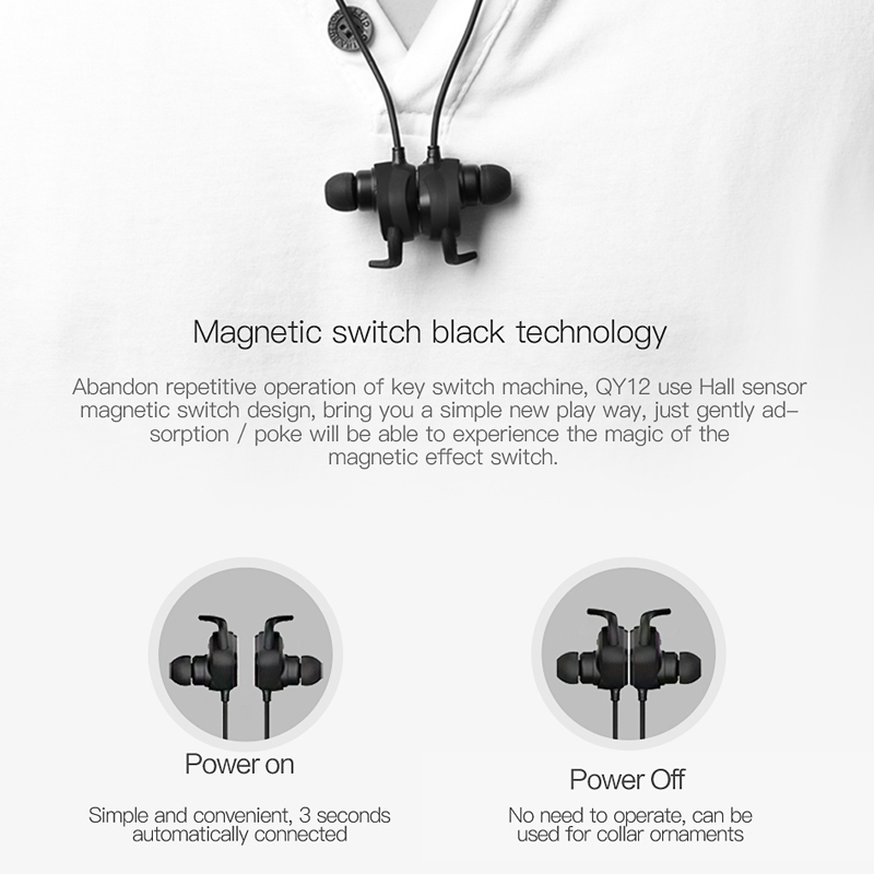 Qcy Qy12 Magnetic Switch Earphones Sports Running Wireless Earbuds