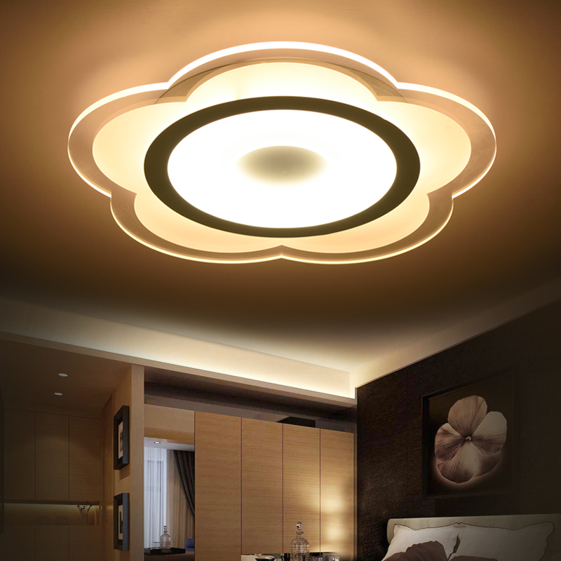 Modern Remote Dimmable Ceiling light LED lamp iron   Acrylic faceplate panel for Bedroom LED light fixture