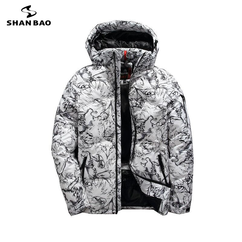 SHANBAO brand winter thick white duck down men's casual down jacket coat fashion camouflage hooded down jacket white black