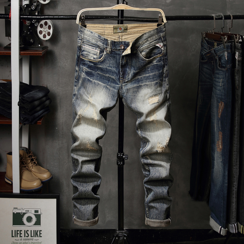 Italian Style Fashion Men's Jeans High Quality Slim Fit 100% Cotton Ripped Jeans Denim Pants Brand Designer Classical Jeans Men