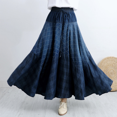 Makuluya New High Quality Women's Vintage Ethnic Flower Pattern Printing Bohemian Diamond Polka Dot Denim Long Pleated Skirts L6