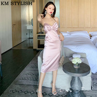 2019 Summer New Three dimensional Handmade Diagonal Cut Pink Sexy Women's V neck Satin Pleated Spaghetti Strap Dress