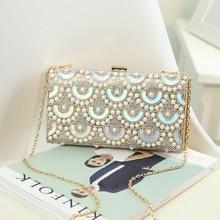 Luxury fashion pearl laser Diamonds mini wedding party clutch day clutches ladies shoulder bag across body messenger bag flap