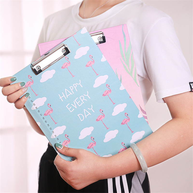 Cute A4 File Folder Paper Cartoon Tower Flamingo Document Folder Bag With Clip Filing Product Office School Stationery Supplies