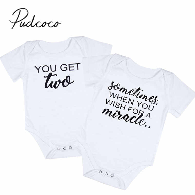 1af31fd447c83 Baby Twin Clothes Bodysuit Baby White Onesie Miracle Get Two Letters ...