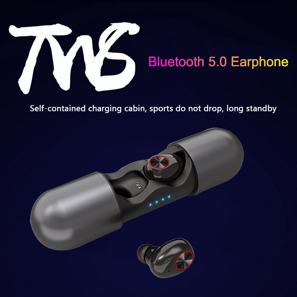 <font><b>V8</b></font> <font><b>TWS</b></font> <font><b>Bluetooth</b></font> 5.0 Earphones Mini True Wireless Earbuds HD Stereo Cordless Headset Noise Cancelling Earphone with Microphone image