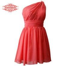 A-line Korallen kurze Brautjungfer Kleider eine Schulter Chiffon Prom Party Kleider Vestidos damas de Honor cortos HarveyBridal LM16016