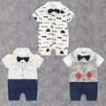 Roupas de bebê Menino Cavalheiro Pouco Veados Barba Cavalheiro Gravata Romper Infantil Verão Macacão de Manga Curta Bebê Roupas Capitão