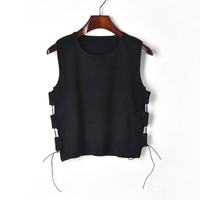 2019 Summer new side strap hollow designer sleeveless sweater black vest women casual knitwear tops