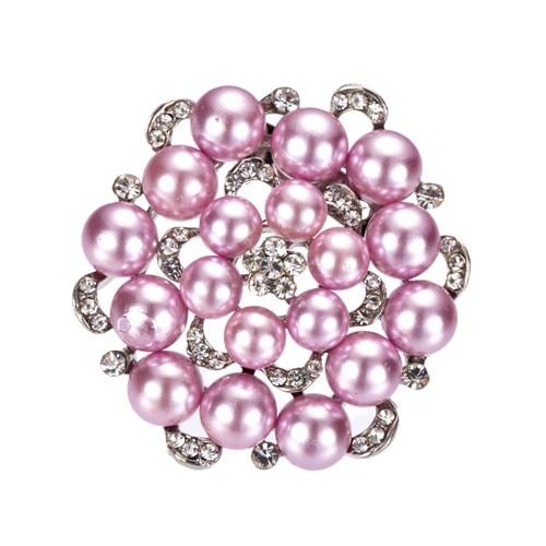 """Родий покрытые серебром со стразами кристалл и крем искусственный жемчуг цветок брошь """" в диаметре"""