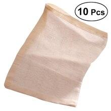 ROSENICE 10pcs 30x40cm Cotton Tea Bags Reuseable Drawstring Bags Strai