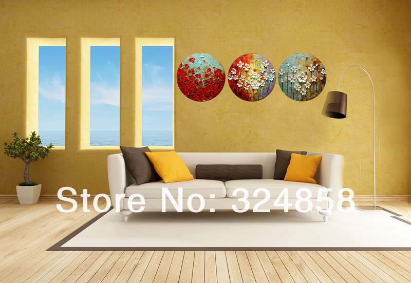 Original Framed Round Canvas Painting Abstract Modern White Texture ...