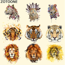 ZOTOONE Tiger Lion Iron on Transfer Animal Patches for Clothes Applique Heat Transfer Leopard Patch Washable Stripe Stickers DIY