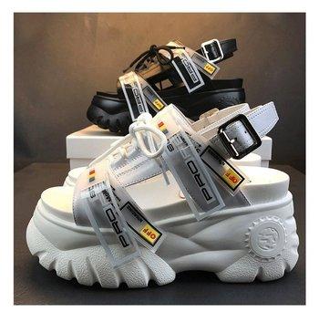 2019 Sandálias Grossas de Verão Mulheres 8 cm Cunha Sapatos de Salto Alto Feminino Fivela Plataforma Couro Casual Chinelos de Verão Mulher Sandália 1