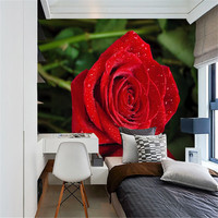 custom 3d wallpaper modern style romantic red roses reflection living room bedroom TV background wall decorative painting