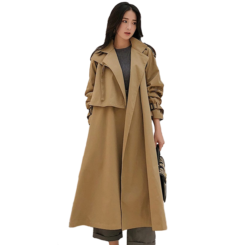Khaki   Trench   Coat Women Spring Autumn Long Coat Casual Tops Fashion Female Plus size Belt Slim Cotton   Trench   Thin Windbreaker