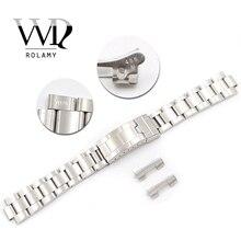Полые изогнутые скользящие застежки Rolamy 20 мм из нержавеющей стали, матовый браслет для винтажных устриц 70216 455B
