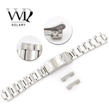 Rolamy 20mm Edelstahl Links Hohl Gebogene Ende Einsatz Glide Lock Verschluss Gebürstet Armband für VINTAGE Oyster 70216 455B