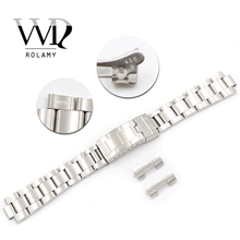 Rolamy 20mm Stainless Steel Links Hollow Curved End Deployment Glide Lock Clasp Brushed Bracelet for VINTAGE Oyster 70216 455B цена