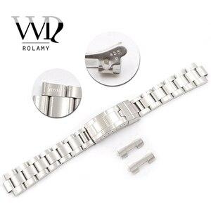 Image 1 - Rolamy Bracelet en acier inoxydable, 20mm, maillons creux, bout incurvé, déploiement, fermoir à verrouillage coulissant, brossé, pour Oyster, VINTAGE 70216 455B