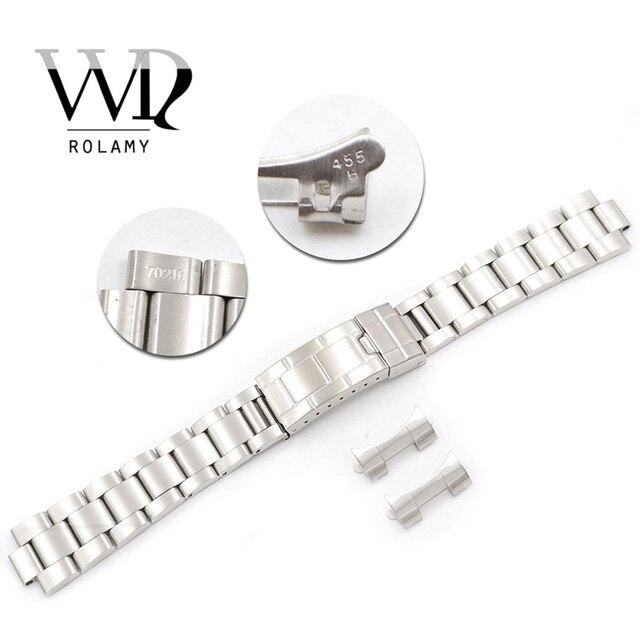 Rolamy Bracelet en acier inoxydable, 20mm, maillons creux, bout incurvé, déploiement, fermoir à verrouillage coulissant, brossé, pour Oyster, VINTAGE 70216 455B