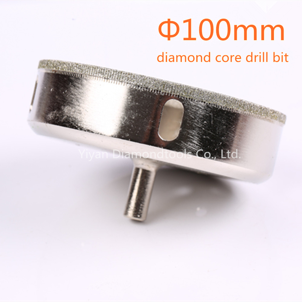 large size 100mm electroplated diamond drill bit hole saw for glass tile ceramic hole cutting use free shipping  diamond head glass cutter ceramic tile cutting art paint brush engraving pen glass stone metal lettering cutting act004