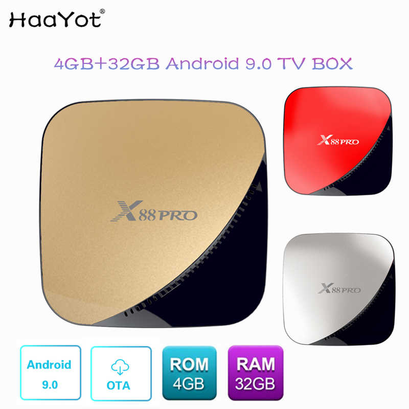 HAAYOT X88 PRO Android 9 0 TV Box 4G 32G Rockchip RK3318 4 Core 2 4G/5G  Wifi 4K HDR Set Top Box USB 3 0 Support 3D Movies Boxes