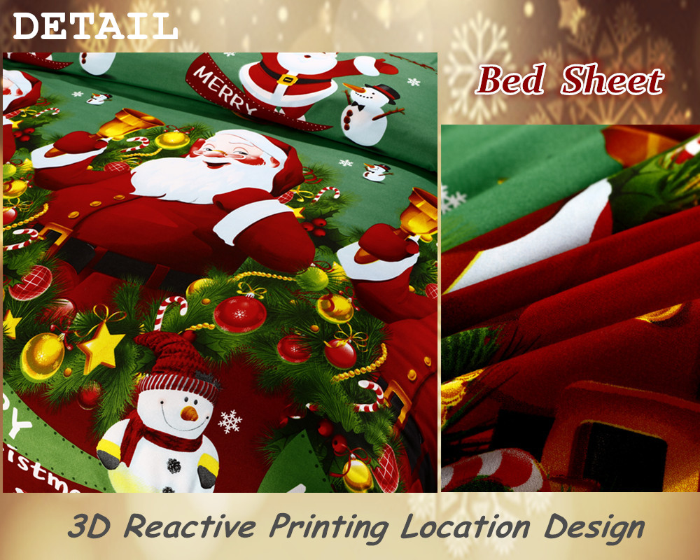 Great For Christmas, Set 4Pcs Christmas Santa Clause, 3D Bedding Set Duvet Cover Set,Sheet, Pillowcase, Sham Covers 35