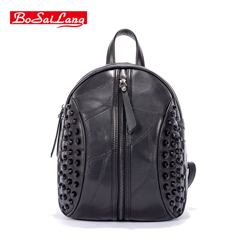 Punk women bag backpack Women s Backpack Shoulder Bag Leather bag Sheepskin bag Rivets decoration Fashion