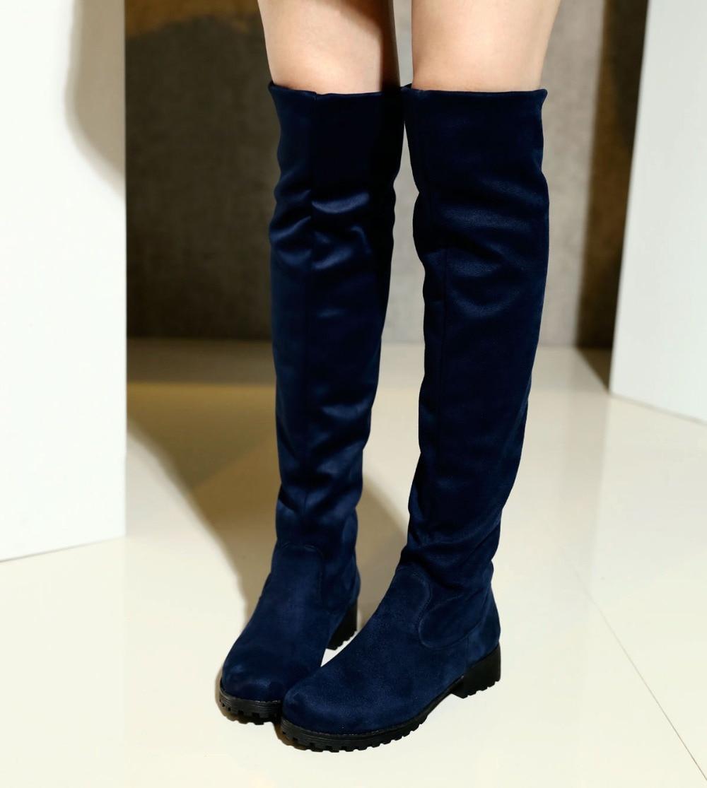 Nouvelle Arrivée noir Marine bleu rouge PU Slip on de mode Femmes bottes  Taille