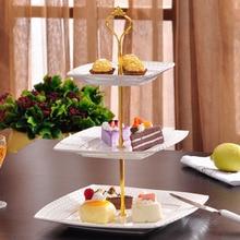 Вечерние Инструменты для торта, 1 набор, 2 или 3 уровня, стойка с ручкой для тарелок для торта, металлическая Свадебная вечеринка, 6 цветов