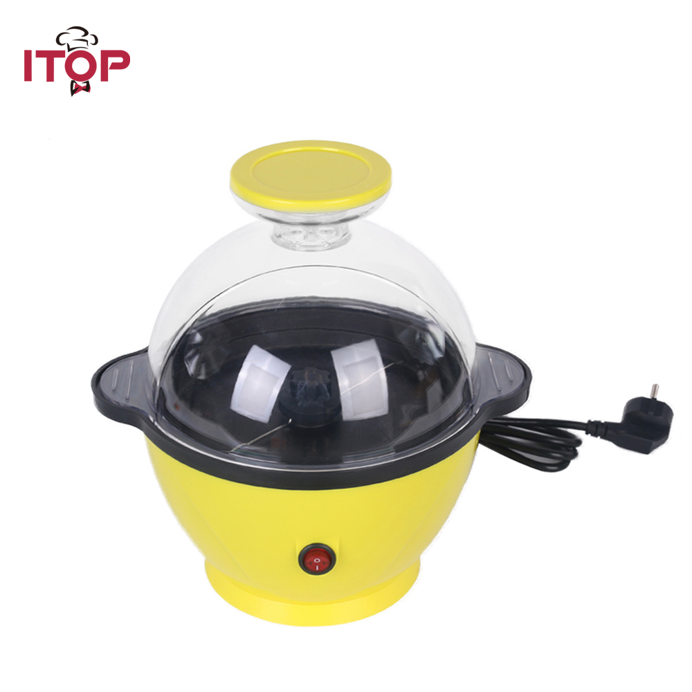 ITOP Electric Popcorn Maker Yellow Automatic Machine Corn Mini Household Popper Natural Healthy Popcorn popcorn popper machine household popcorn maker retro style corn popper 2 5oz rocking type kettle