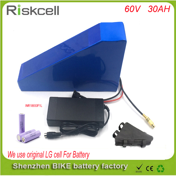 Triangle style Lithium Battery 60V 30AH Electric Bicycle Scooter 60V 2000W  ebike Lithium battery pack with Use LG 18650 cell 48v 34ah triangle lithium battery 48v ebike battery 48v 1000w li ion battery pack for electric bicycle for lg 18650 cell