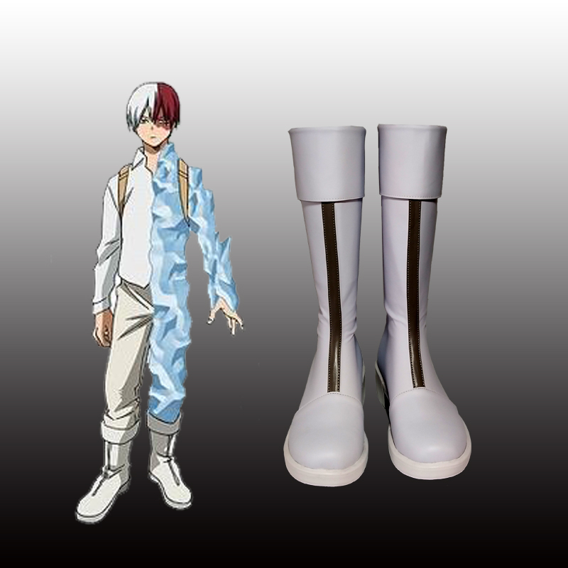 New Japanese Anime My Hero Academia Todoroki Shoto Cosplay Shoes Cosplay Boots Zippe up Back PU Leather Shoes Euro Size 35 44 in Shoes from Novelty Special Use