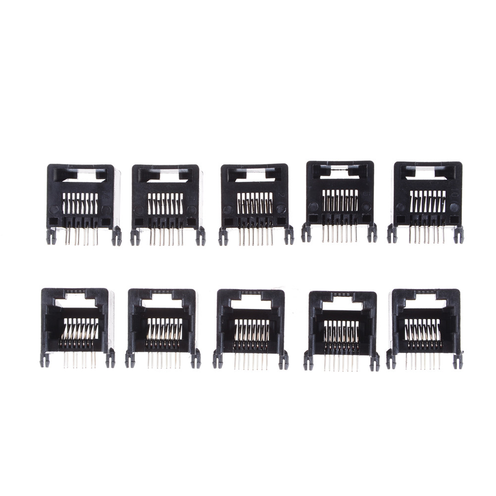 10pcs RJ45 8P8C Black Computer Internet Network PCB Jack Socket